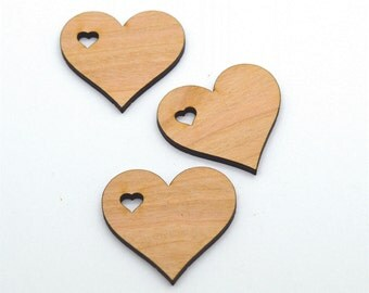 Hearts with heart shaped holes: 50 Laser cut wooden hearts - Made to order