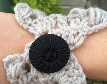 Grey crochet cuff