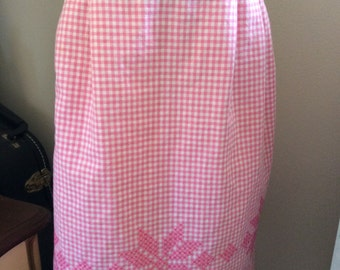 Vintage apron pink and white gingham with cross stitch flower