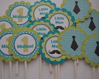 Mustache Cupcake Toppers - Lime Green and Teal - Mustache Bash - Little Man - Mustache Party - Mustache and Tie - Set of 12