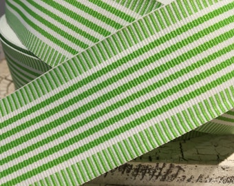 "1.5"" Preppy WHIMSY STRIPE Lime Green and White Grosgrain Ribbon sold by the yard"