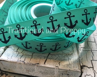 "3 Yards 7/8"" Nautical Navy Anchor Tropic grosgrain ribbo"