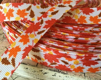 "3 yards 5/8"" Fall Autumn Leaves leaf grosgrain ribbon"