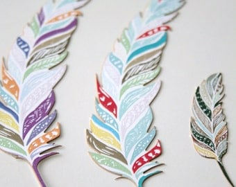 Purple Paper Feather Decorations, Paper Feather Accents - Multicolor Feather Die Cut