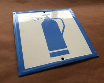 Vintage Enamel Sign Porcelain Fire Extinguisher 1970's Industrial Blue And White