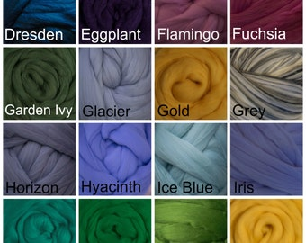 1 pound Merino Wool Top Roving- Choose from 70 colors! Great spinning fiber, wool roving, Giant Yarn, Make your own Arm knitting yarn,
