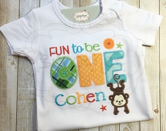 Fun To Be One Shirt | Shirt or Bodysuit | Colorful First Birthday Shirt | Monkey Birthday | Custom Appliquéd & Embroidered | By Sixpence