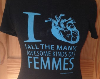 Turquoise/Black Heather I [heart] All the Many Awesome Kinds of Femmes, Fitted Scoop Neck