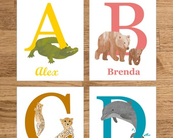 Custom animal letter with kids name, Printable baby name gift, Personalised download poster childrens room