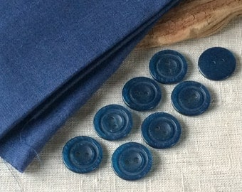 Coat buttons, one inch jacket vintage unused blue, brown large buttons for sewing, jewelry, crafts