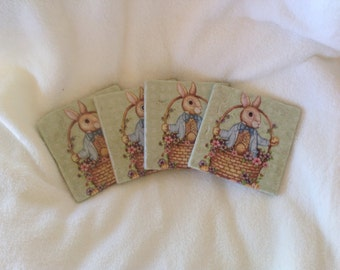 Coasters, Natural Stone Easter Bunny Coasters, Beverage Coasters