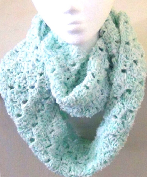 infinity scarf soft mint green crocheted cowl s