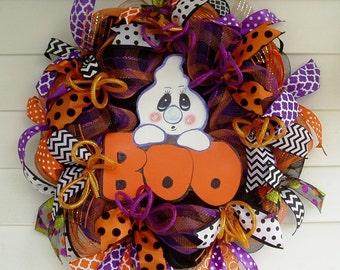 Halloween Wreath, Ghost Halloween Wreath, Boo Halloween Wreath