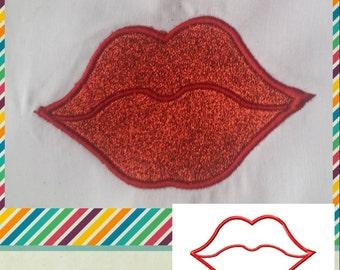 LIPS Machine Embroidery Applique design