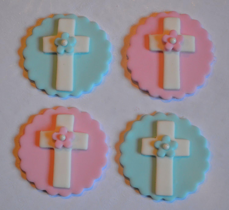 Fondant Baptism Cupcake Toppers fondant christening cupcake