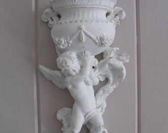 Cottage White,Shabby Chic Cherub/Angel Wall pocket Sconce W/Floral Swags...