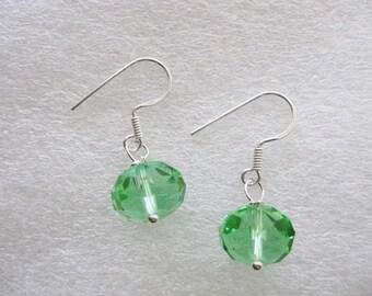 Earrings ~  Sterling Silver   Green Glass Bead  Ear Wires