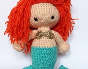 Ginger Mermaid decorative amigurumi doll - red head - crochet nursery decor - Hans Christian Andersen - MADE TO ORDER