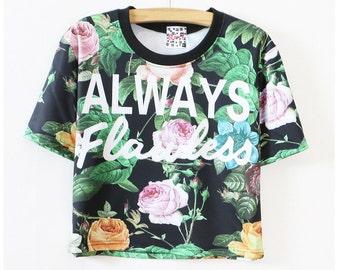 Flora short screen print T-shirt