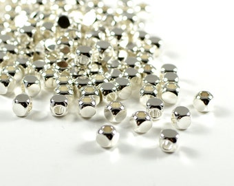 Square beads, 4mm, cube spacer beads, rounded edge, electroplated sterling silver, brass beads, light weight  - 25 pcs/ pkg