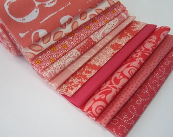 "Quilt Fabric 5"" Strips ""Jam Roll"" Bundle - Coral Salmon PINK: Chez Moi, DS, Cosmo, Zen, Moda, Pr"
