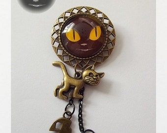 Brooch ''Black cat""