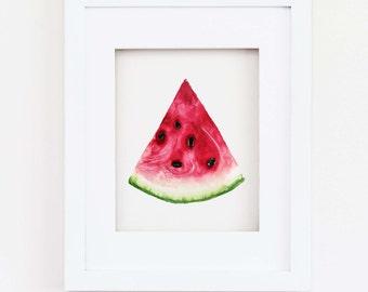 Matted 11x14 Watercolor Watermelon Slice Print