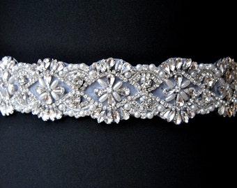 "20"" Beautiful Bridal Crystal Sash Wedding Dress Sash Bet Pearls Rhinestone Sash Rhinestone Bridal Bridesmaid Sash Belt, Wedding dress sash"