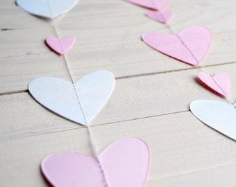 Pink and White Garland > Paper Garland > Hearts Banner - 2 mt