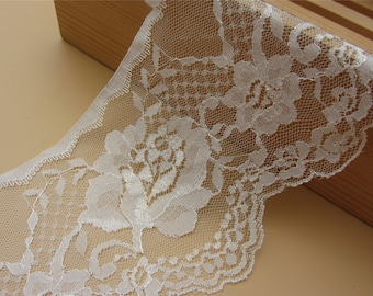 off white wave Lace Trim FLaT 4inch ~ FLoRaL~One yard Beautiful vintage style white lace,Cute  white rose  lace,Accessories,