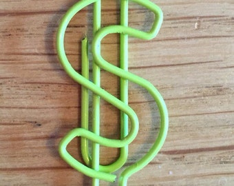 Dollar paperclips in lime green