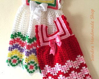 Crochet Baby Dress PATTERN, Gift For Baby Girl, Babyshower Newborn 9-10 months 1-2 Years Old Girls, Chevron Outfit Pattern