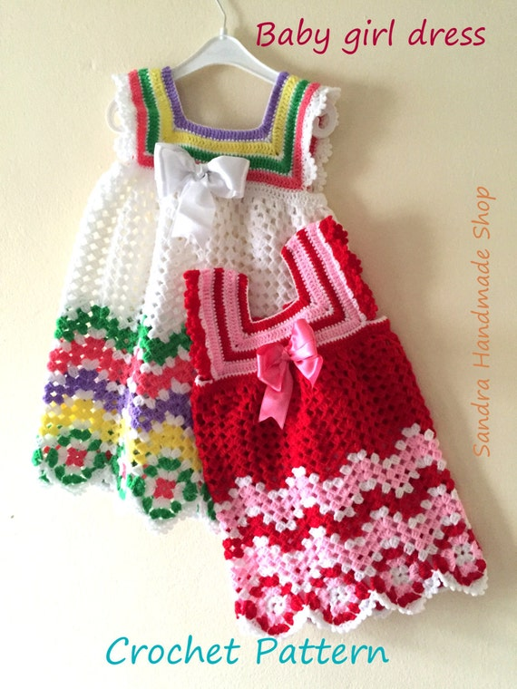 Crochet Chevron Baby Dress Pattern : Crochet Baby Dress PATTERN Gift For Baby Girl Babyshower
