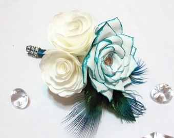 Wedding Boutonniere, Teal and white Groom boutonniere, Paper Flower boutonniere, Prom boutonniere, Boutonnieres made in your color choices