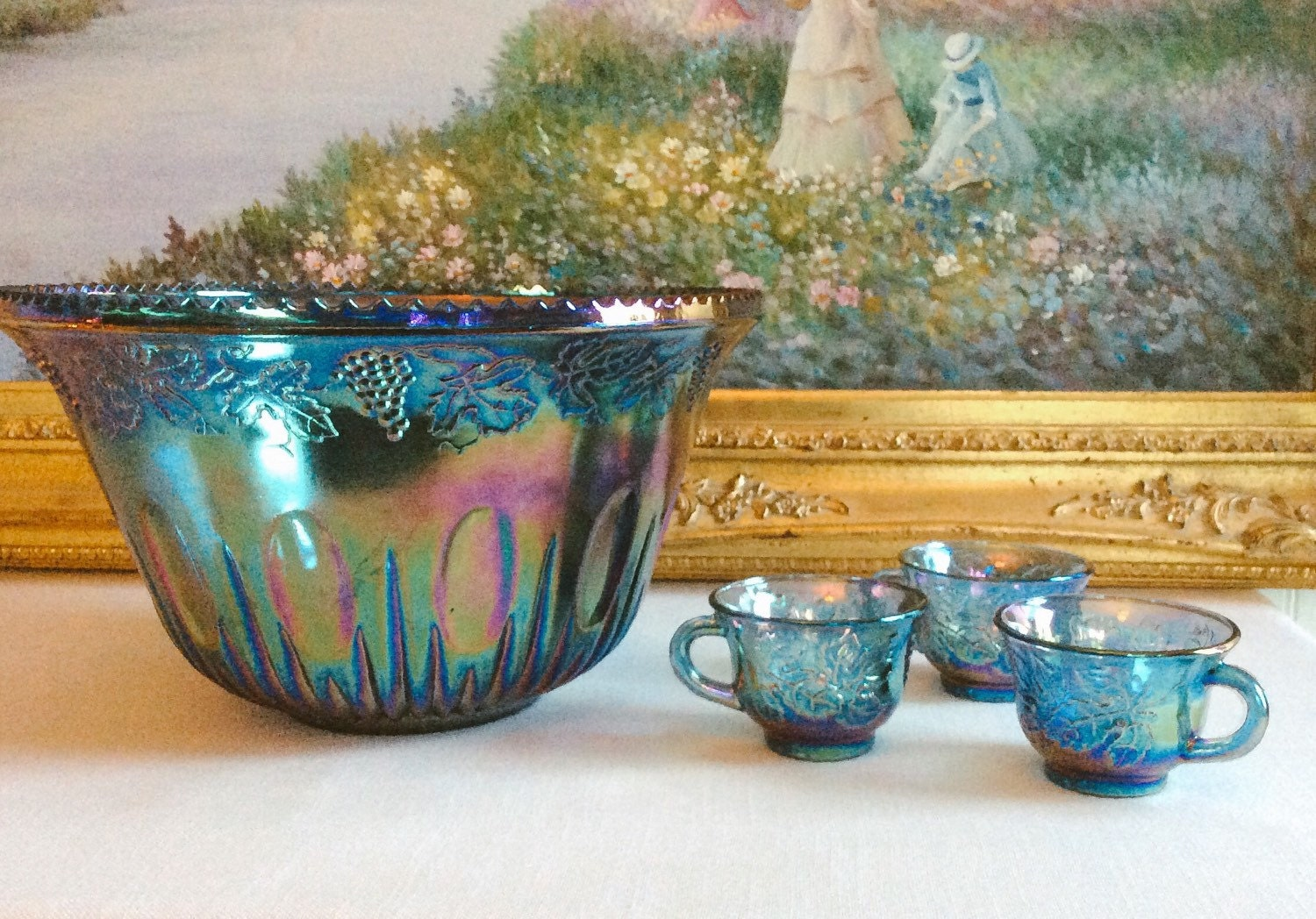 Blue carnival glass punch bowl set cups
