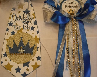 Blue and Sliver Prince baby shower corsage and Tie set