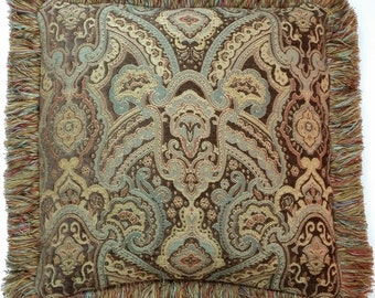 "Decorative Brown, Rust, and Blue Pillow, size 18""x18"""