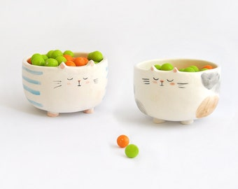 Solidarity Ceramic Pet Feeder, Pet Bowl,  Cat Shape, with Blue Stripes or Brown Spots. Customizable. Ready To Ship