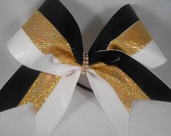Cheer Bow Black / Gold / White Microdot w Rhinestone Center by BlingItOnCheerBowz