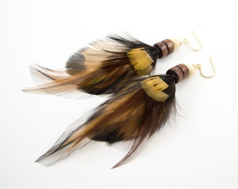 Feather earrings - Boho hippie jewelry - Real feather earrings - Cruelty free feather jewelry