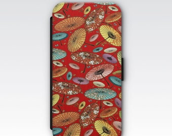 Wallet Case for iPhone 8 Plus, iPhone 8, iPhone 7 Plus, iPhone 7, iPhone 6, iPhone 6s, iPhone 5/5s - Japanese Parasol Pattern Case