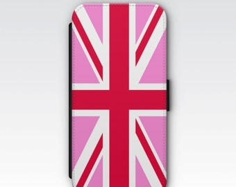 Wallet Case for iPhone 8 Plus, iPhone 8, iPhone 7 Plus, iPhone 7, iPhone 6, iPhone 6s, iPhone 5/5s -  Pink Union Jack Flag Case