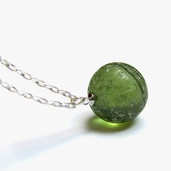 Green Glass Marble : Green sea glass marble necklace drilled pendant