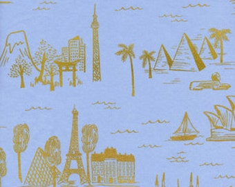 Fat quarter City Toile LAWN in Pale Blue Metallic of Les Fleurs by Rifle Paper Company for Cotton and Steel
