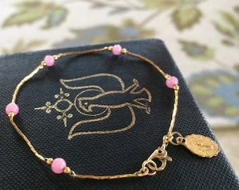 Gold Miraculous medal bracelet