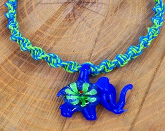 Blue & Green Glass Blown Elephant Hemp Necklace