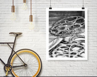 Photograph - Vintage Black & White Bicycle Bike Gears Chain spokes - Industrial Rust Rusted - Fine Art Photography Print Wall Art Home Decor