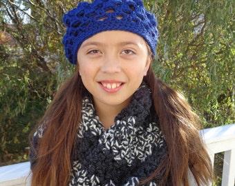 Hannah lightweight mini beret in Cobalt