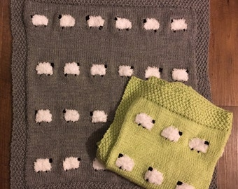 Sheep baby blankie | sheep baby blanket | knit sheep blanket | knit lamb blanket | knit baby blanket | sheep blanket | animal blanket |