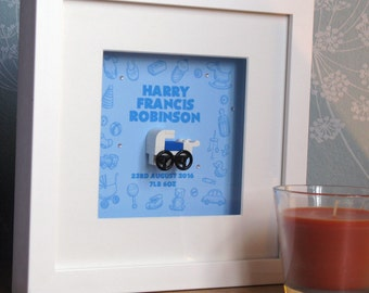 0005B Large Baby Boy Pram LEGO® Wall Art Frame